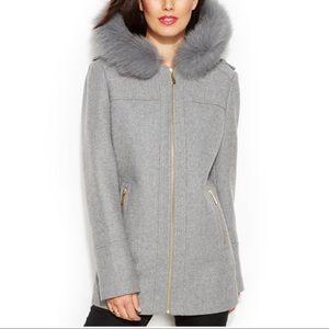 Michael Kors Grey Wool Coat with Fur Collar